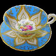 Paragon Rose & Fruit turquoise blue teacup duo