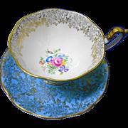 Royal Albert Grand Avon blue & gold teacup duo