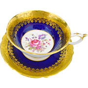 Paragon gold etch border cobalt teacup duo, rose center