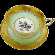 Paragon purple violets teacup duo, gold etch border