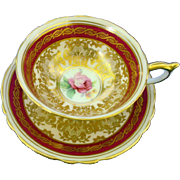 Paragon exquisite golden lace peach teacup duo, red band rose center