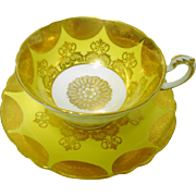 Paragon fan gold yellow teacup duo, gold etch