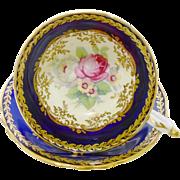 Paragon pink rose cobalt blue band teacup duo, cream & gold