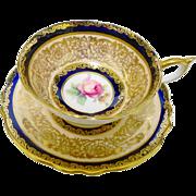 Paragon peach & cobalt teacup duo, rose center