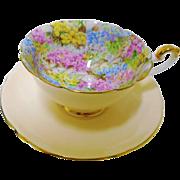 Shelley peach BOSTON rock garden chintz teacup duo
