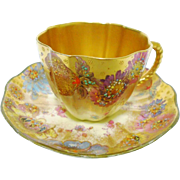 Antique Royal Crown Derby ornate gold tea cup and saucer c.1891