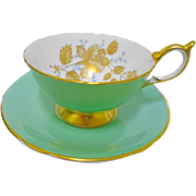 Aynsley golden peony rose athens tea cup and saucer, heavy gold footing teacup