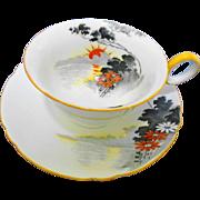 Shelley art deco Orange sun teacup duo, Chester