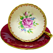 Aynsley pink cabbage rose center red tea cup and saucer