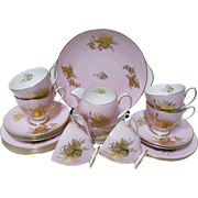 21 PC Shelley pink teacup trio, Tea service for 6