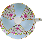 Queen Anne flared wide pastel blue teacup duo, Pink Briar rose chintz