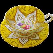 Paragon Rose & Fruit teacup duo, yellow