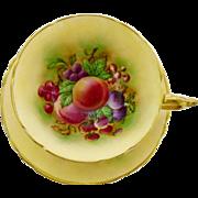 Paragon large fruit teacup duo, rainbow peach