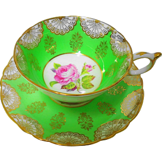 Paragon raised rose center green teacup duo, gold fan