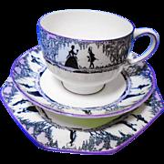 Star Paragon silhouette teacup mauve trio, black