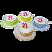 4 Royal Albert pastel rainbow avon teacup duo set, Painters Rose