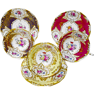 3 Royal Chelsea Rose Cartouche wide teacup duo set
