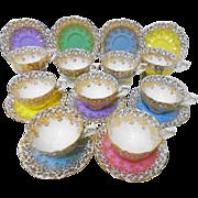 10 Royal Albert Spectacular colored teacup duo set, Gold Cascade