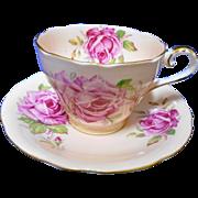 Aynsley blush pink large rose teacup duo