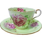 Aynsley Pink large rose teacup duo, minty green