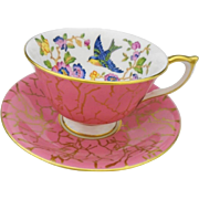 Aynsley blue bird gold chintz gilt fancy Tea cup and saucer, bright pink teacup