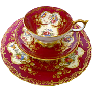 Aynsley Paramount exquisite teacup trio, roses & red