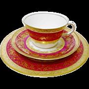 Antique Aynsley golden flower teacup set, 19th Century trio