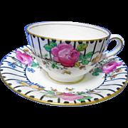 Aynsley large pink rose black stripes teacup duo