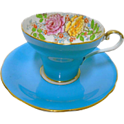 Aynsley turquoise corset teacup duo, raised pink & yellow rose