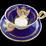 Aynsley cobalt blue doris teacup duo, Queen Elizabeth picture