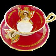 Aynsley Empress Red doris teacup duo, Queen Elizabeth picture