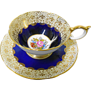Aynsley Cobalt blue golden fleur de lis teacup duo, JA Bailey Athens