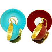 2 Aynsley Golden Bowls Oban teacup duo set, red & turquoise