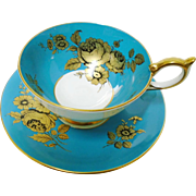 Aynsley Golden roses Deep turquoise teal athens teacup duo
