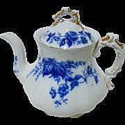 Antique Flow Blue style Cliff Tea Pot, Strawberry Flowers