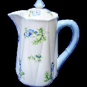 Shelley dainty blue poppy hot water jug, tea pot, coffee pot