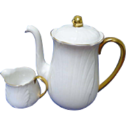 Shelley Oleander textured Coffee pot & creamer, golden regency style