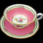 Spode Copeland rose art deco Tea cup and saucer,  pink rose center teacup