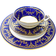 Spode cobalt Gold Tea cup and saucer trio