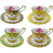 4 Paragon ANTIQUE ROSE PATTERN Signed tea cup and saucer