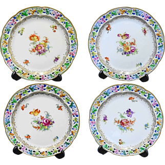 Set of 4 Arzberg Schumann Reticulated SALAD Plate, Dresden Rose unique reticulation plate