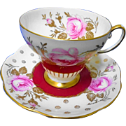 EB Foley Pink rose gold red tea cup and saucer  xx