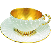 Antique Coalport pearlized tea cup and saucer  A/F