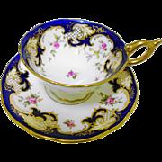 Coalport pink rose cobalt gold tea cup and saucer