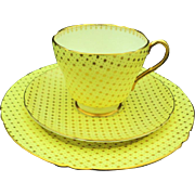 Shelley yellow gold star tea cup and saucer trio