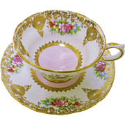 Grosvenor ornate gold pink rose tea cup and saucer, pink white dual tone