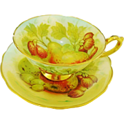 Hammersley Artist SIGNED rainbow fruit tea cup and saucer