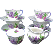 4 Shelley lilac time tea cup and saucer with creamer and sugar