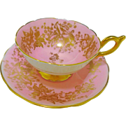 Coalport orchid lily gold pink Tea cup and saucer