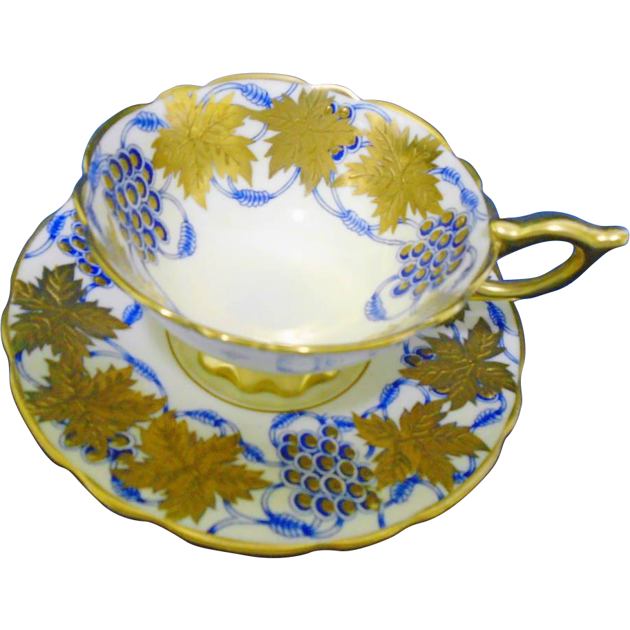 ONE Royal Stafford La Vigne D'or gold & blue tea cup and saucer  xx